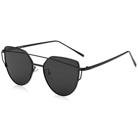 b8e95086bf8c6 SojoS Cat Eye Mirrored Flat Lenses Street Fashion Metal Frame Women  Sunglasses SJ1001 with Black Frame