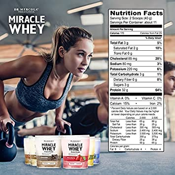 Dr. Mercola Miracle Whey Concentrate Protein Powder Original Lean Muscle Growth, Immune Support Colostrum, Sunflower Lecithin, MCT, Beta Glucan, Amino Acids Cysteine, Glycine, Glutamate