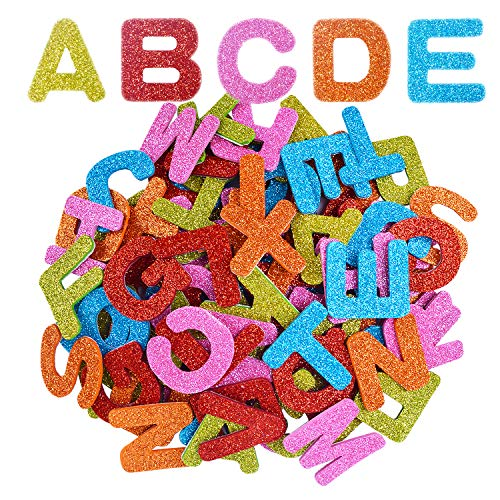 BronaGrand Glitter Foam Stickers Letter Sticker Self Adhesive Alphabet Letters A to Z, Assorted Colors, 4 Sets/104 Letters