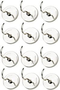 Katzco Magnetic Hooks - 10 Pack - 1.5 Inch - for Homes, Kitchens, Workshops, Garages, Tools, Clothing, Bags, Jackets, Decor, Wrenches, Mounting, and More
