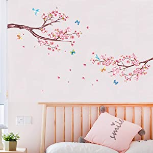 decalmile Cherry Blossom Flower Wall Decals Floral Tree Branch Wall Stickers Bedroom Living Room TV Wall Art Decor