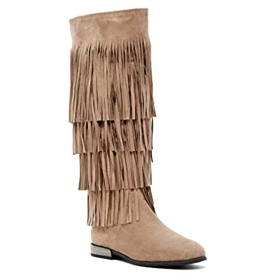 Bucco Jovanny Womens Fashion Tall Fringe Boots