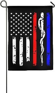Love fled Police & Firefighter & EMT Flag Graphic Outdoor/Home Decorative Flag for Festival