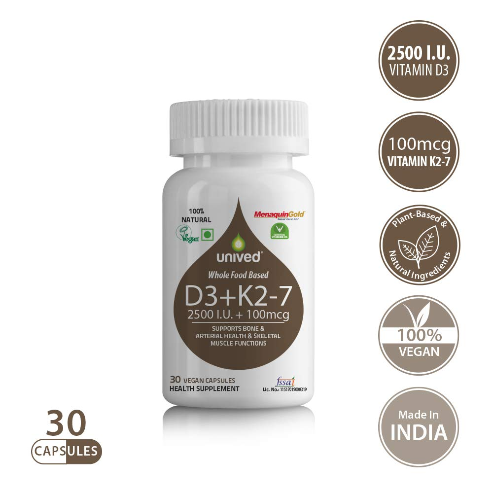 Unived D3+K2 (MK-7), Vitamin D3 2500IU (Plant-Based) & Vitamin K2-7 (MenaquinGold) 100mcg, for Immunity, Cardiovascular & Bone Health, 30 Vegan Caps (B07H4DTWGG) Amazon Price History, Amazon Price Tracker