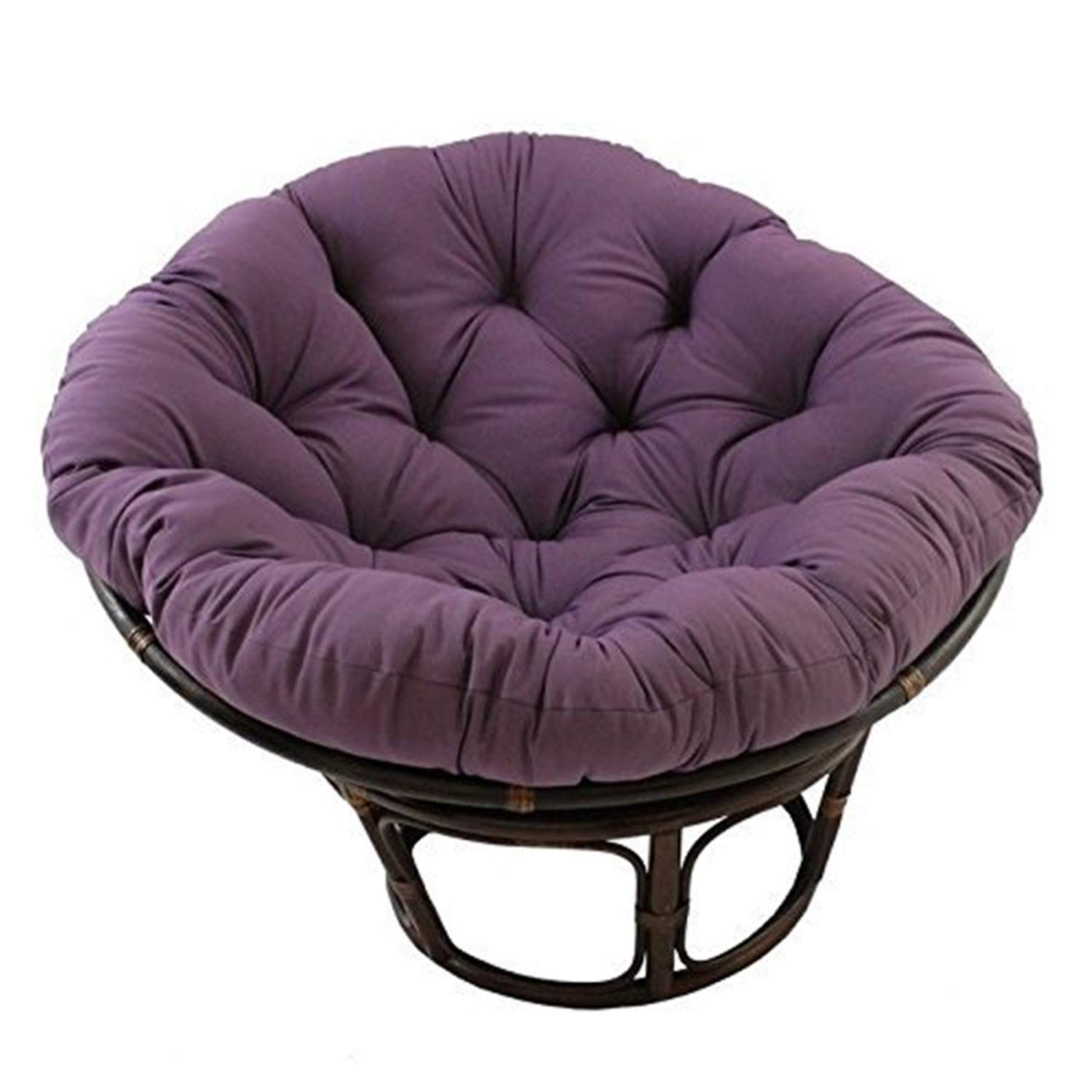 International Caravan Furniture Piece 42-Inch Rattan Papasan Chair with Solid Twill Cushion
