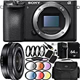 Sony Alpha a6500 Mirrorless Digital Camera with 16-50mm f/3.5-5.6 OSS Alpha E-mount Retractable Zoom Lens 22PC Accessory Bundle - Includes 64GB Memory Card + 2 Replacement FW-50 Batteries + MORE
