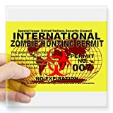 "CafePress - International Zombie Hunting Permit Sticker - Square Bumper Sticker Car Decal, 3""x3"" (Small) or 5""x5"" (Large)"