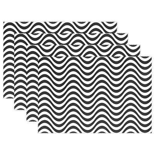 (Wave Pattern Wavy Water Seamless Sea Stripe Placemats Set Of 4 Heat Insulation Stain Resistant For Dining Table Durable Non-slip Kitchen Table Place Mats)