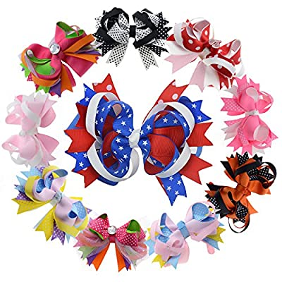 Multi Stacked Giant Bow with Alligator Hair Clip for Girls Juniors