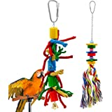 Parrot Toy, Rusee Natural and Colorful Knots Block Parrot Chewing Hanging Toys for Small or Medium-Sized Birds,2 Pack