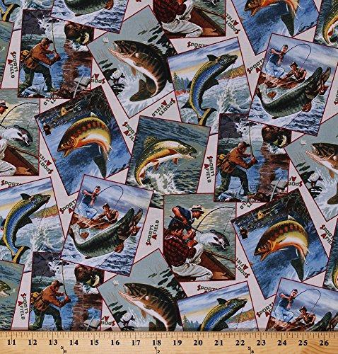 Cotton Fish Fishing Bass Rainbow Trout Photographs Postcards Fisherman Cotton Fabric Print by The Yard (8405CREAM)