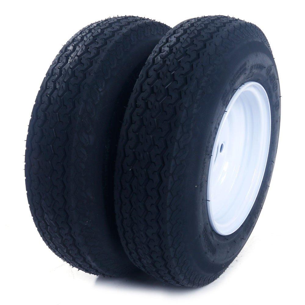 2PCS Tralier Tires & Rims 4.80-8 480-8 4.80 X 8 8'' 5 Lug P819 White Wheel Spoke LRB