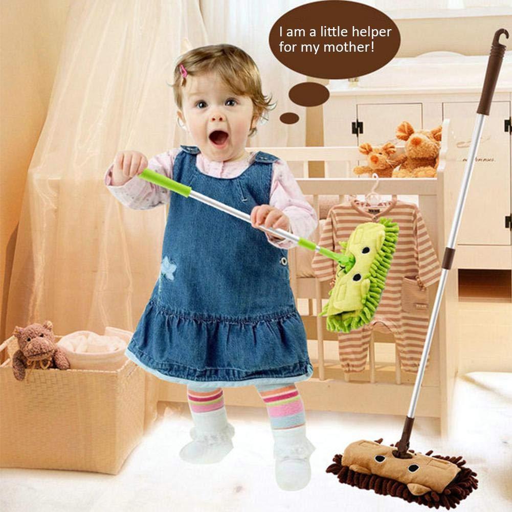 Hausspiel Mini Mopp F/ür Kinder Freistellbare L/änge Verriegelungsstruktur Klettverschluss An Beiden Seiten P/ädagogisch Putzset F/ür Kinder