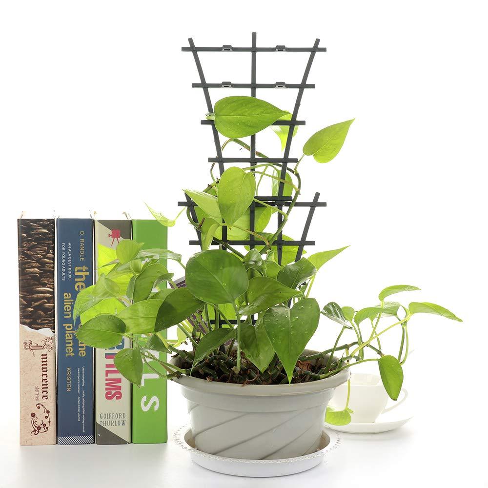 Seika 2Pcs Plastic Mini DIY Garden Trellis Potted Plant Growing Support Superimposed Garden Plant Support Plant Winding Climbing Dark Green