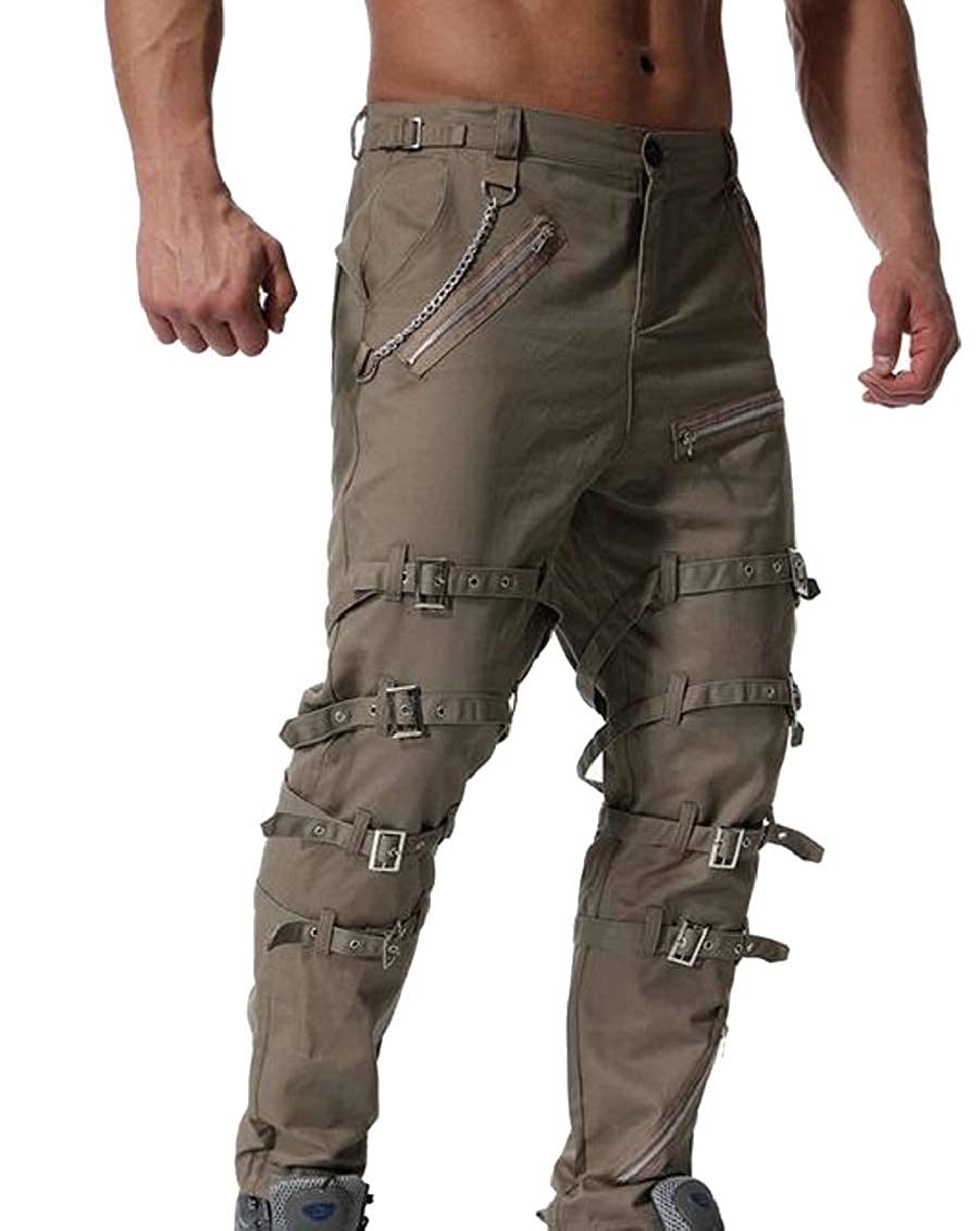 Sweatwater Mens Rugged Zip Up Cargo Metallic Chains Outdoor Pants Trousers