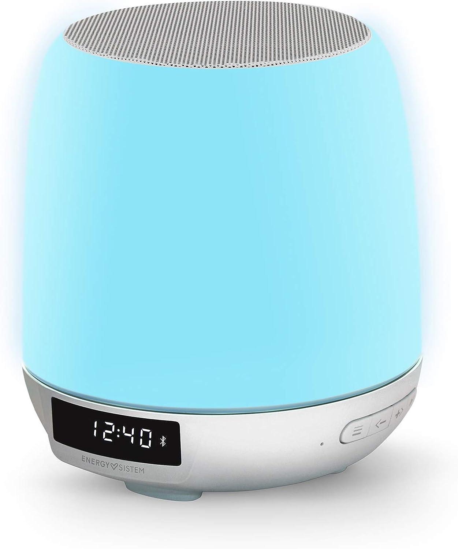 Energy Sistem Clock Speaker 3 Light Altavoz portátil con Bluetooth (Dual Alarm, 8 W, Wake-Up Light, FM Radio, Bluetooth, Line-In, Touch Control)