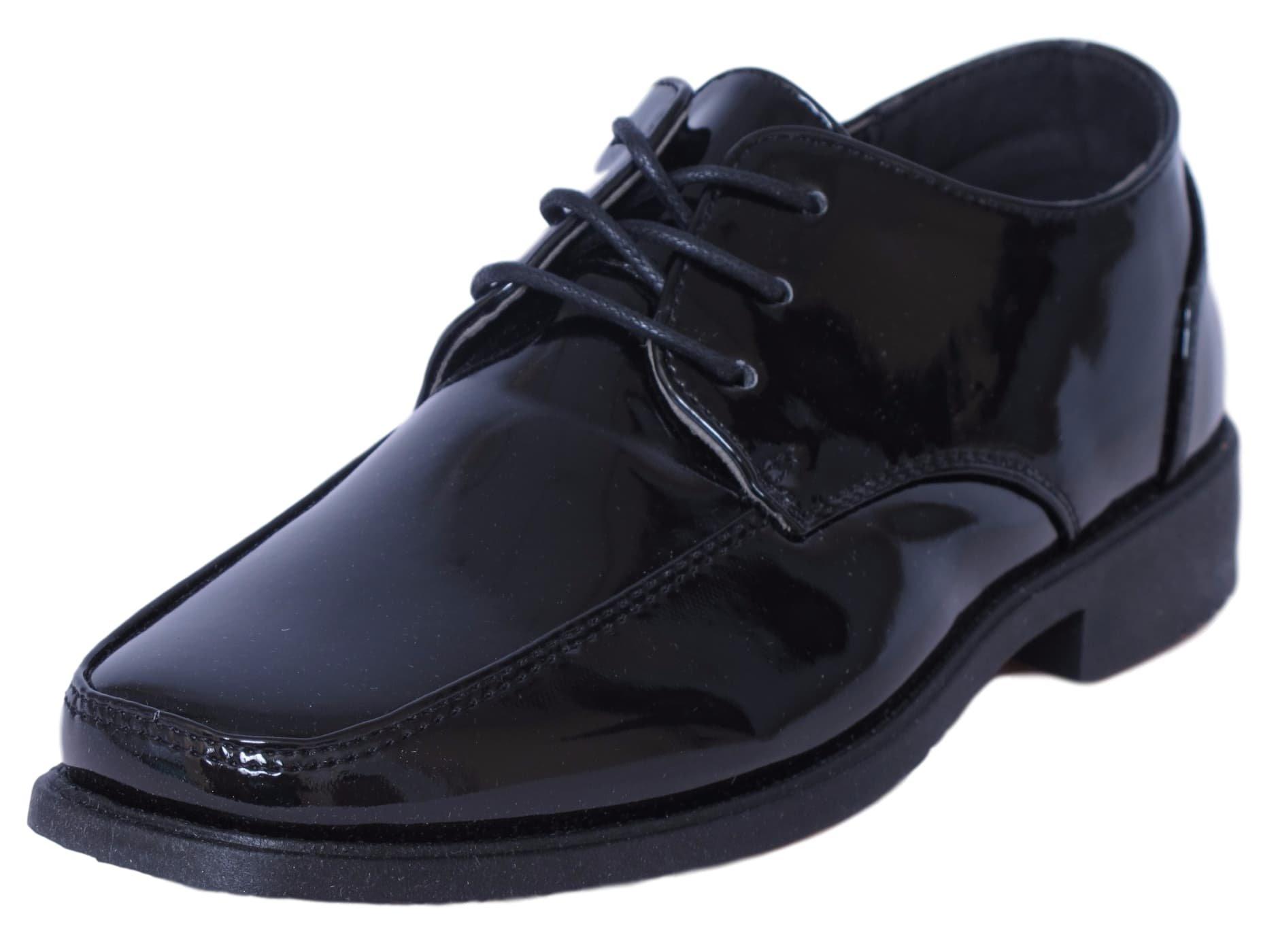 Josmo Boys Lace-Up Dress Shoes, Black Patent Size 8'