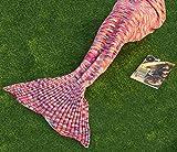 Mermaid Tail Blanket for Adults,Handmade Crochet Mermaid Blankets Women Colorful Sleeping Bag 71inch