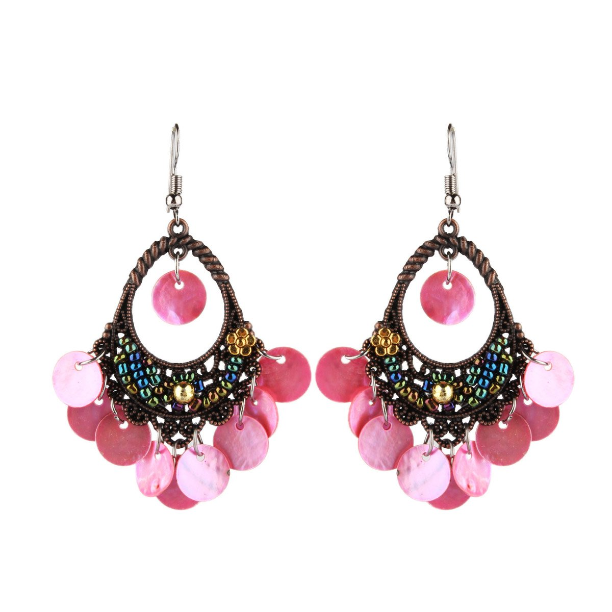 Dangle Earring Vintage Chandelier Earrings Shell Disc Drops piercing for Girls Pink
