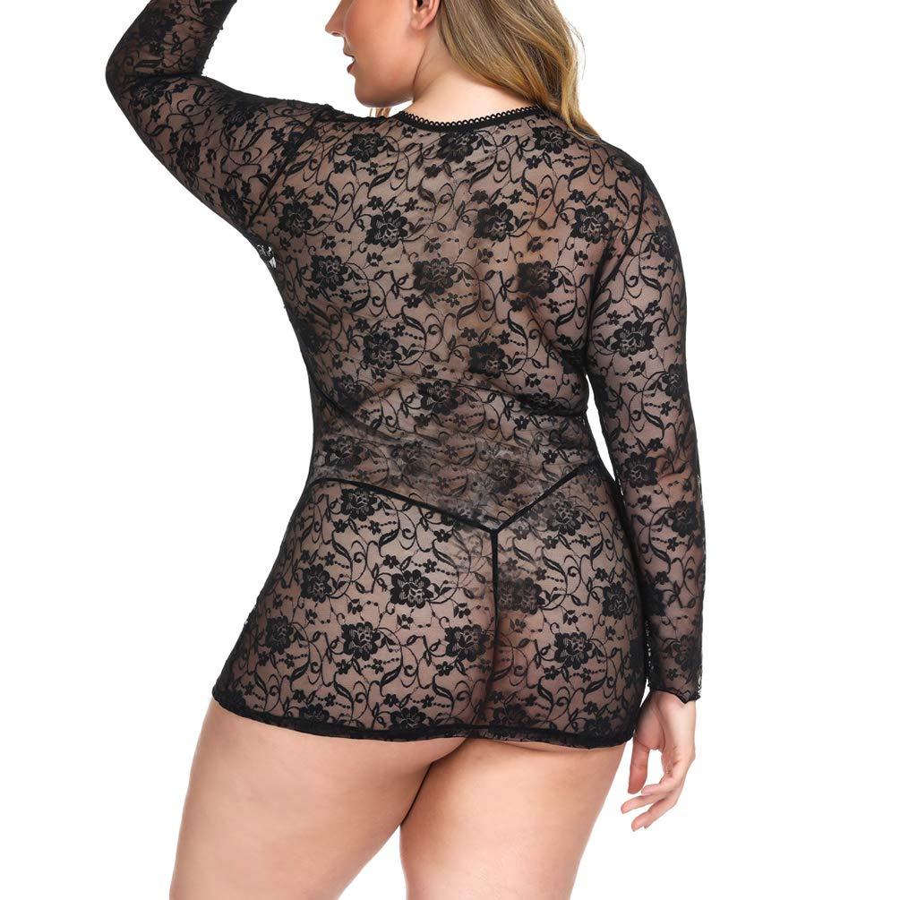 ENJOYNIGHT Women\'s Lingerie Lace Babydoll Plus Size Sleepwear Nightwear (3XL, Black2)