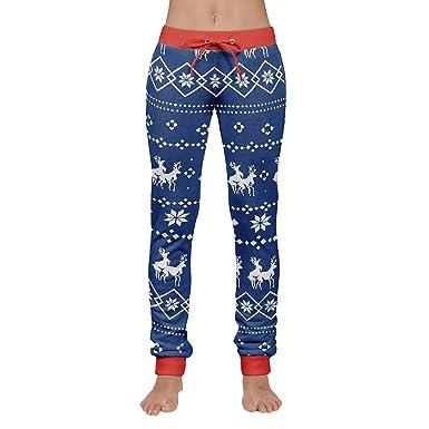 Elsta Damen Herren Weihnachten Drucken Hose Kordelzug Hosen Casual Warm Hosen  Slim Fit Stretch Stoffhose Hose Jogg-Jeans Sport Outdoor Hosen Lang ... d2cb8f1e40