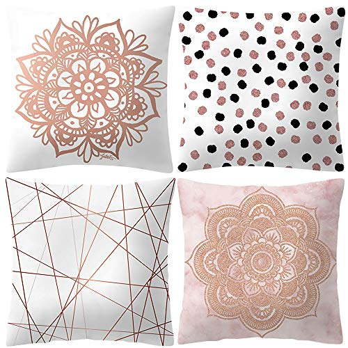 Littay Rose Gold Pink Cushion Cover Square Pillowcase Home Decoratio 17.72