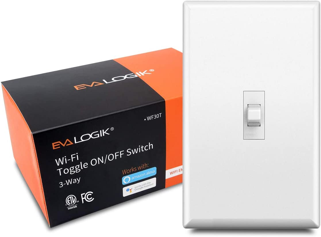 3-Way Smart WiFi Toggle Light Switch, On/Off Control, in-Wall, No Hub Required, Compatible with Alexa and Google Home, ETL and FCC Listed (WF30T)