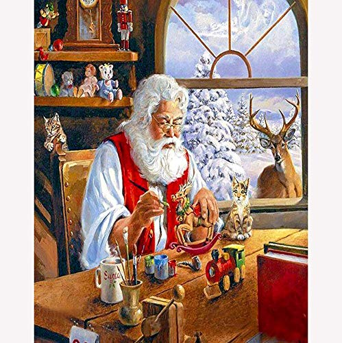 DIY 5D Diamond Painting by Number Kit,Santa Claus Carving Deer Crystal Rhinestone Embroidery 5D Diamond Painting Supply Arts Craft Canvas Wall Decor 16x20 Inch ()