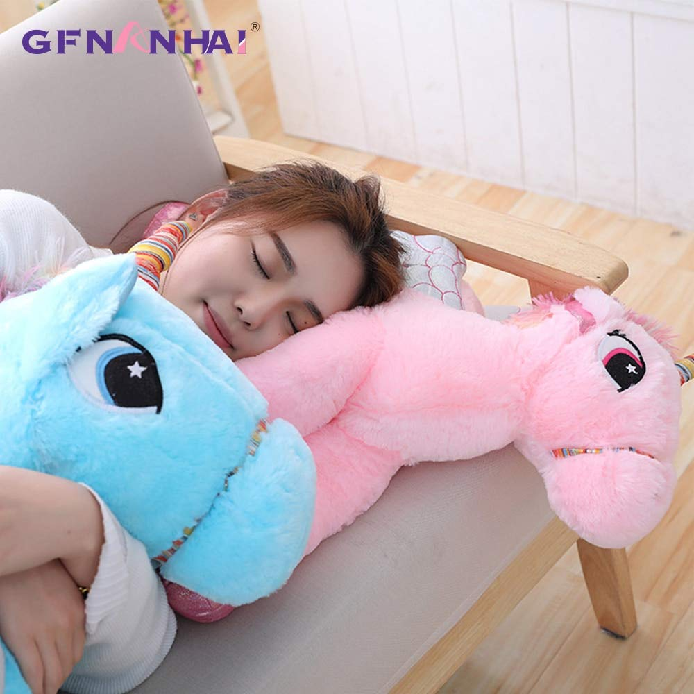 LAJKS 1Pc 50/60/90Cm Big Size Cute Plush Toy Stuffed Soft Kawaii Animal Horse Nap Pillow Birthday Gift for Children Girls Must Have Items The Favourite Cool Must Haves Superhero Cupcake by LAJKS