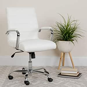 Amazon Com Flash Furniture Mid Back White Leathersoft Executive Swivel Office Chair With Chrome Base And Arms Furniture Decor