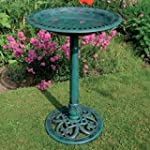 Victorian Green Pedestal Bird Bath