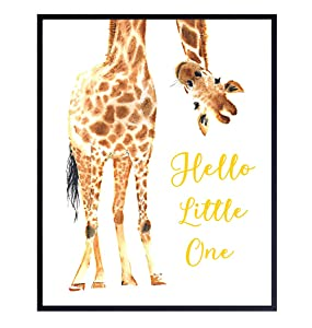 Giraffe Nursery Decor Wall Art Print - Kids Room Typography Art Print Poster - Unique Home Decoration for Toddlers Bedroom - Inexpensive Gift for Baby Shower - 8x10 Photo Unframed