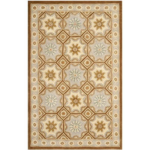 """Safavieh Naples Collection NA513A Handmade Wool Area Rug, 6'0"""" x 9'0"""", Ivory/Brown"""