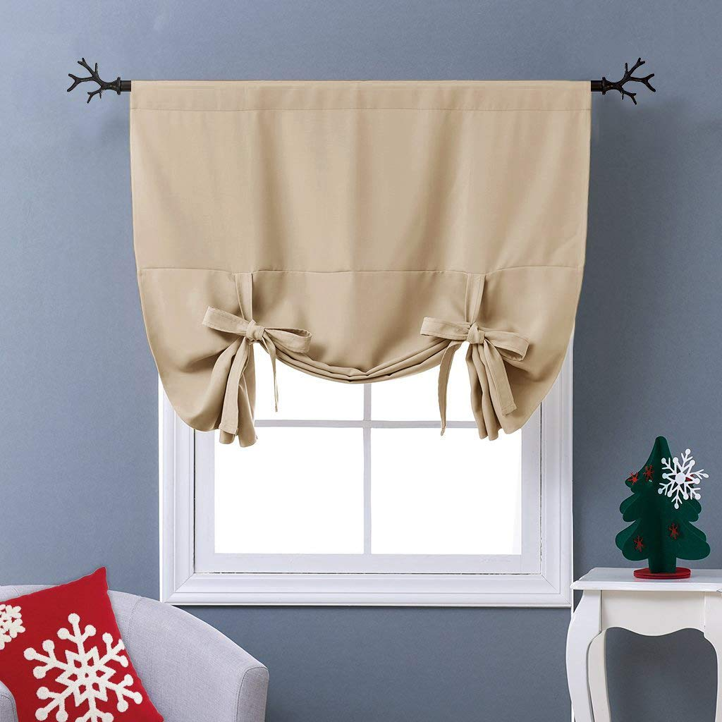 "NICETOWN Blackout Room Darkening Curtain - Tie Up Shade Blind Bathroom Window Covering (Cream Beige, Rod Pocket Panel, 46"" W x 63"" L)"