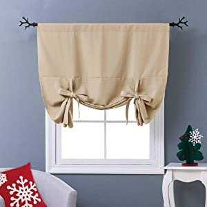 "NICETOWN Blackout Room Darkening Curtain - Tie Up Shade Blind Bathroom Window Covering (Cream Beige, Rod Pocket Panel, 46"" W x 63"" L)"
