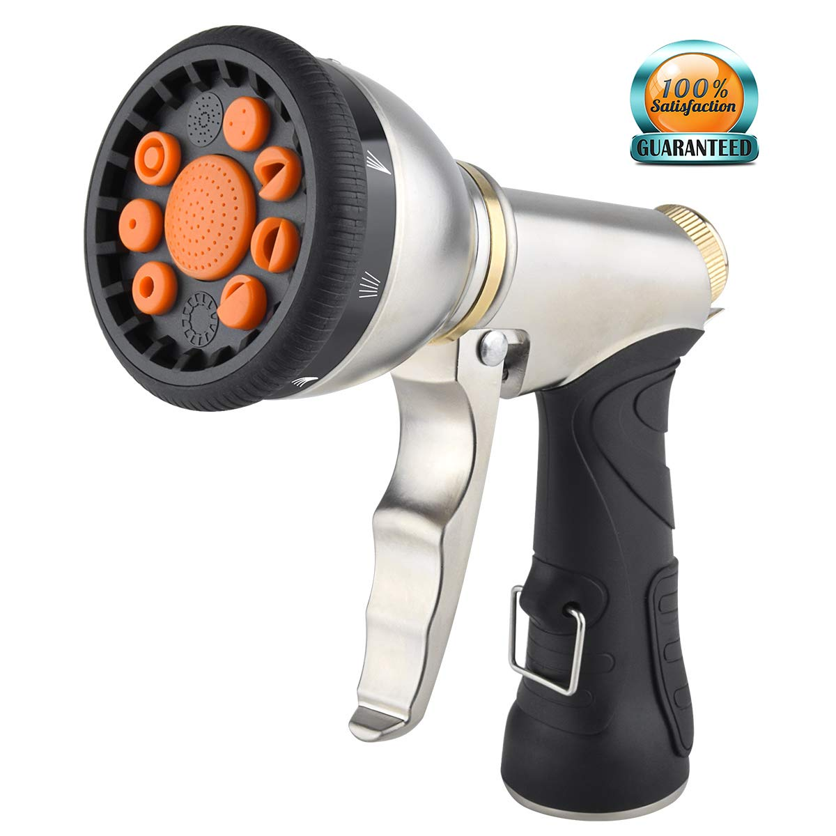 Garden Hose Nozzle Sprayer,Heavy Duty 9 Adjustable Patterns Metal Spray Gun Grip Trigger Nozzle,Best High Pressure Metal Body & Grip Leak Proof Lawn Sprayer for Plants,Car Wash,Cleaning,Pets Shower