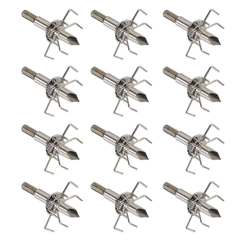 Huntcool 6pcs/12pcs Archery Judo Broadheads Compound Bow Hunting Arrowheads 100Grain Paw Point 4mm Steel Arrow Head Crossbow Points for Small Animals AH-01 (AH-02B) by Huntcool