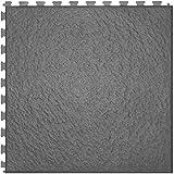 IncStores Slate Flex Multi-Purpose Hidden Interlocking Textured PVC Floor Tiles 6 Tile Pack Covers 16.67 sqft (Dark Grey)