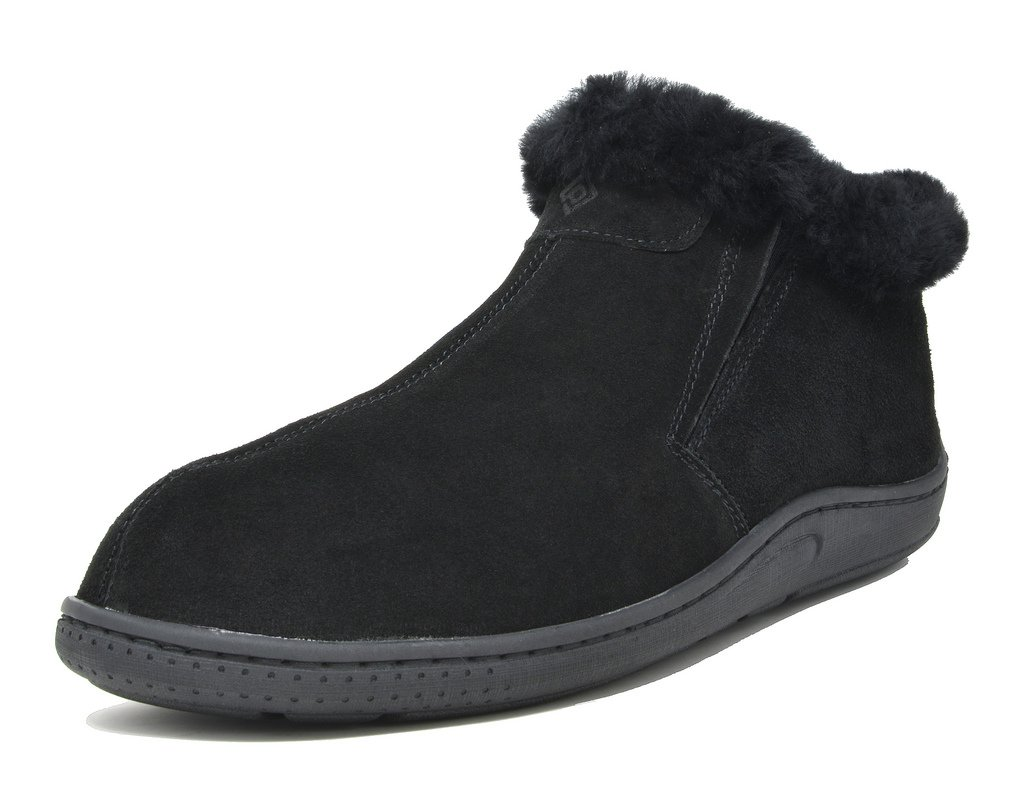 DREAM PAIRS Men's Sole-Furry-01 Black Sheepskin Fur Slippers Loafers Shoes Size 10 M US