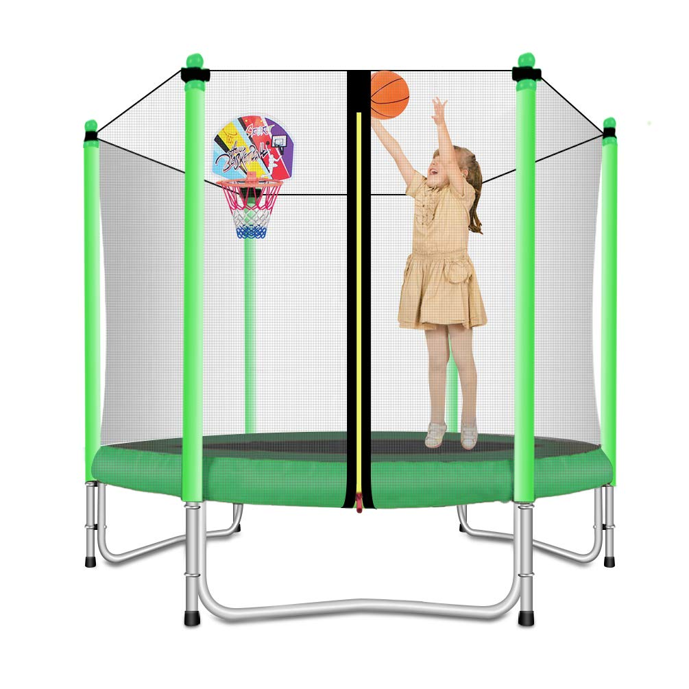Lovely Snail Trampoline with Basketball Hoop-Trampoline for Kids-Green-5 Feet by Lovely Snail