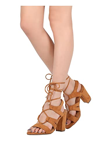 cb7923d36aa Alrisco Women Faux Suede Open Toe Lace Up Ankle Wrap Block Heel Sandal HB35  - Camel