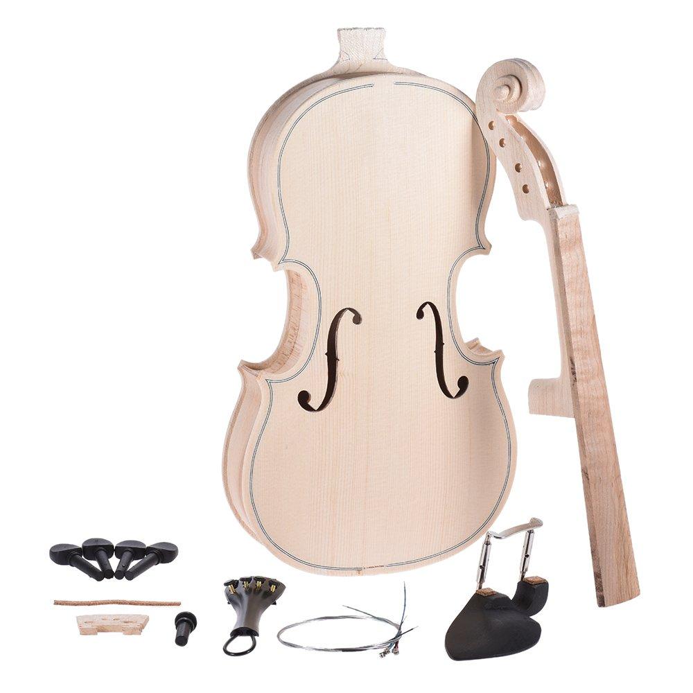 ammoon DIY 4/4 Full Size Natural Solid Wood Violin Fiddle Kit Spruce Top Maple Back Neck Fingerboard
