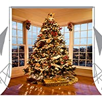 OUYIDA 10X10FT Seamless Christmas Tree Decorating Pictorial Cloth Customized Photography Backdrop Background Studio Prop CEM01D(Updated Material)