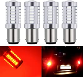 KaTur 4pcs 1157 BAY15D 5630 33-SMD Red 900 Lumens 8000K Super Bright LED Turn