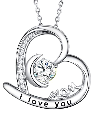 June Birthstone Necklaces Pearl Jewelry I Love You Mom Birthday Gift for Mom Heart Moon Necklace Sterling Silver