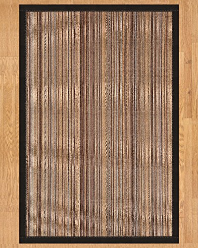 NaturalAreaRugs Boardwalk Collection Sisal Area Rug, Handmade in USA, 100% Sisal, Non-Slip Latex Backing, Durable, Stain Resistant, Eco/Environment-Friendly, (3 Feet x 5 Feet) Black (Black Non Slip Latex Backing)