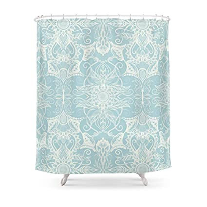 Amazon MAOXUXIN Floral Pattern In Duck Egg Blue Cream Shower