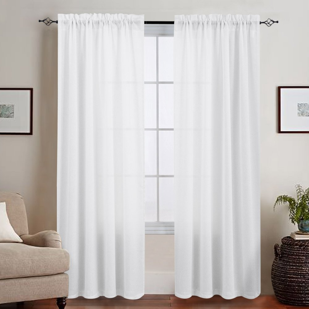 Casual Weave Textured Semi Sheer Curtains White Window Treatments