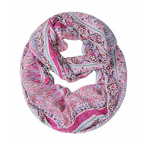 Sexyinlife Chiffon Chevron Multicolor Fashion Women's Infinity Loop Circle Scarf Pink Stripe (Scarf Pink Stripe)