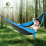 ALPHA CAMP Double Camping Hammock Parachute Hammock with Tree Straps Ultralight Portable for Backpacking Travel Hiking Beach Yard, Blue Black
